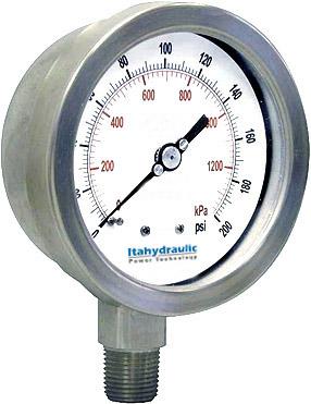 MANOMETRO FULL INOXIDABLE 63mm 0-270 BAR 0 A 4000 PSI_ ABAJAO 1-4NPT C-GLICERINA