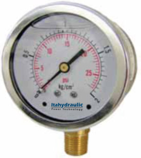 MANOVACUOMETRO BRONCE INOXIDABLE 100mm -30HG A 30 PSI - 1-2 BAR ATRAS_1-2NPT_C-GLICERINA UCLAMP